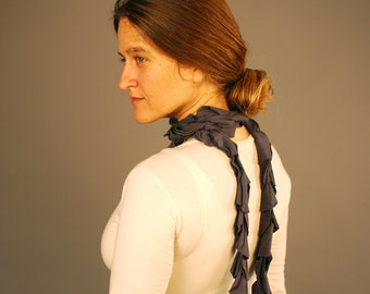Scarf - Ruffle Cascade - Fashion Scarf - Repurposed - Gray - Organic Clothing - Eco Friendly - Organic Clothing
