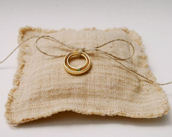 Boho Wedding - Eco Friendly Wedding - Ring Bearer Pillow - Rustic Handwoven Hemp Linen