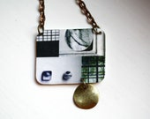 Photo Collage Necklace in Grey, White and Green / Geometric