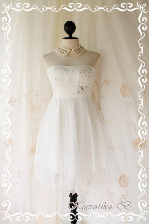 Princess Of The Night Cocktail Dress - Pure White Wedding Prom Party Cocktail Night Dress Romance Tutu Skirt Crystal Embroidered