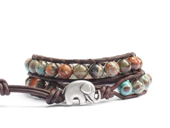 the lucky elephant leather wrap bracelet - Natural Stone on Brown Leather with GOOD LUCK ELEPHANT