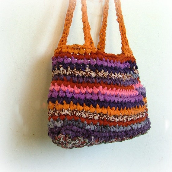 Multi colored gorgeous upcycled rag crochet  bag