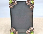 "Embellished Frame Small 2"" x3"" - Fused Glass Golden Gold Yellow Dichroic on Copper Plated Spiral Corners  - 2.25"" x 3.25"""