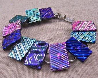 "Dichroic Bracelet - Wavy Ripple Waves Texture Fused Glass - Pink Purple Magenta Fuchsia Violet - 3/4"", 25mm"