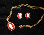 Dainty Carmel Colored Cameo Necklace and Earring Set