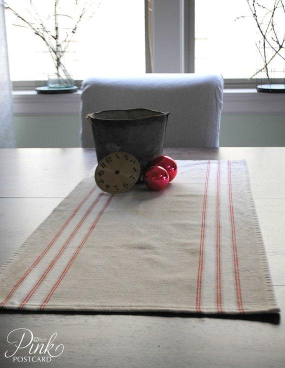 farmhouse table runner french stripe red white by noblevintageshop