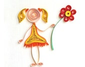 Friendship quilling greeting card - handmade and unique