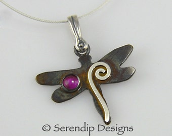 Patina Silver Dragonfly Pendant with Ruby Cabochon, Sterling Silver Spiral Dragonfly Necklace, Dark Patina July Birthstone Necklace