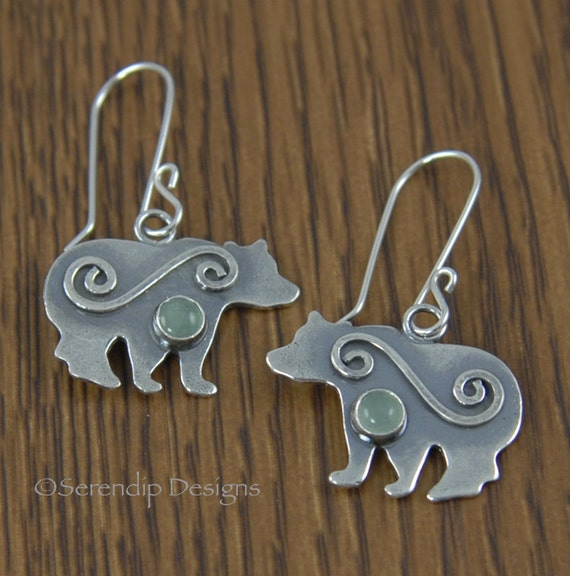 Silver Bear Earrings with Spirals and Green Aventurine
