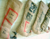 Rustic Holiday Decorations - Burlap Stockings - Elf Christmas Stockings - Coffee Sack - Industrial - Red - habitationBoheme
