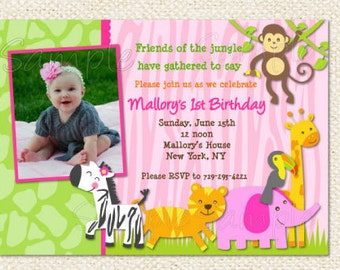 Safari Jungle Birthday Invitations , DIY printable, Jungle invites, girl