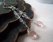 Pink and Clear Crystal Teardrop Earrings