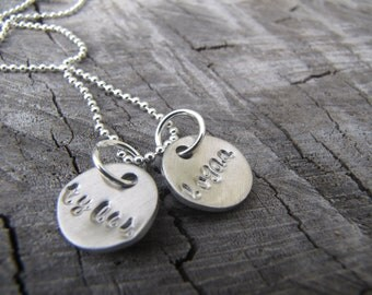 """Mini Name necklace Hand Stamped..2  1/2"""" discs with name up to 5 letters...arrives in a pretty organza bag"""