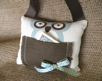 Owl in Turquoise and Chocolate Brown Tooth Fairy Pillow/Door Hanger