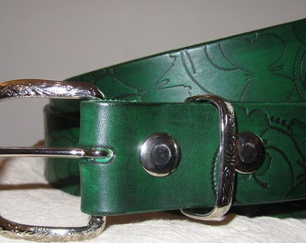 Customizable 1 1/2 inch, Butterfly Design Leather Work or Casual Belt