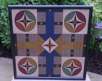 "19"", Parcheesi, Game Board, Wood, Game Boards, Wooden, Folk Art, Primitive, Board Game"