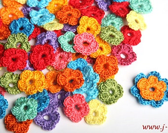 40 crochet flowers applique 2cm for favor bag wedding decoration toys trim sewing craft bijouterie sling - choose any color mix & match
