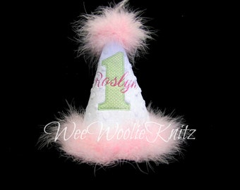 Girls Birthday Party Hat 1st Applique Personalized First 2nd 3rd Kids Photo Prop