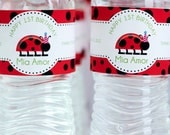 Little Lady Bug Birthday Party Water Bottle Label - Set of 12