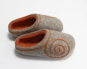 Hand Felted Wool Slippers for Everyone.  Gray with Orange Spiral decor and Orange inside. Made to order.