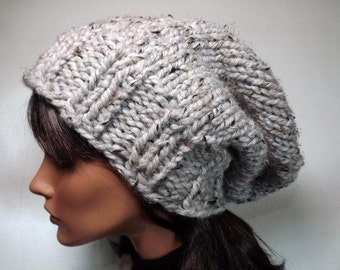 Slouch Hat Womens Hat Hand Knit Slouch Beanie Knit Mens Womens Hat- Gray Marble