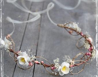 Wedding Head Wreath - Cherry Blossom Wedding - Flower Crown Halo - Bridal Flower Girl Accessories - Spring Wedding, Festival Faire Harajuku