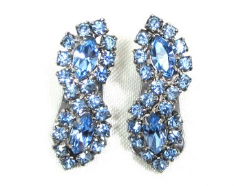 Kramer Rhinestone Earrings, Silver Plated with Marquise and Faceted Round Sapphire Rhinestones