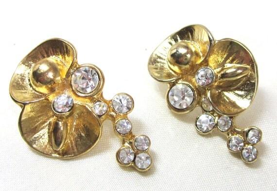Elegant Vintage Rhinestone Earrings, Pierced Designer Earrings