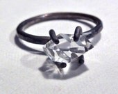 Herkimer Diamond Ring with oxidized sterling silver