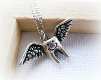 Flying Tooth Sterling Silver Necklace - Tooth Fairy Necklace Sterling Silver - Teeth Jewelry - Gifts for Kids - Flying Tooth Silver Charm