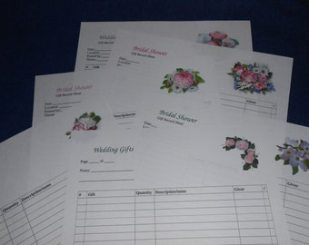 Wedding Gift Recorder, Bridal Shower, Wedding Shower GIft Record Sheet, Printable, Pink Floral