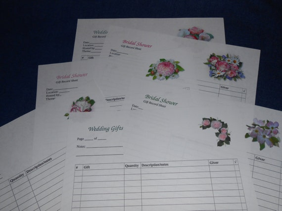 Wedding Gift Recorder, Bridal Shower, Wedding Shower GIft Record Sheet ...