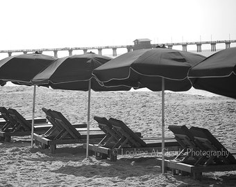 beach chairs with umbrellas, black and white beach art photo, summer vacation, relaxation