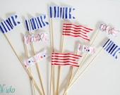 Miniature Waving Flag Cake Topper, Baseball, Red White and Blue