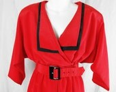 Alison Peters Red & Black  Vintage 80s Jumpsuit 12