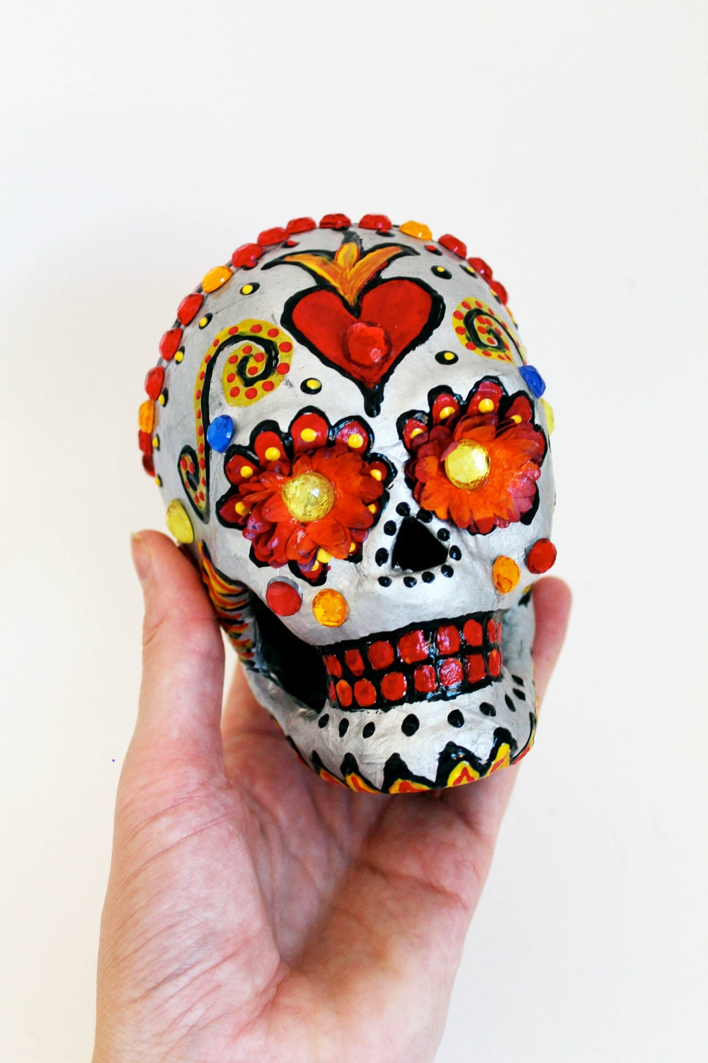 day of the dead silver sugar skull hand painted paper mache