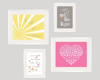You are My Sunshine Nursery Decor Sunshine Art Prints  Kids Room Decor Set of 4 Custom colors Baby shower decoration pink yellow gray