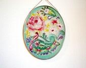 Vintage Joan Baker Suncatcher Pink Roses Stained Glass