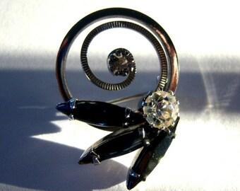 Vintage Black Smoke Marquis Rhinestone Silver Brooch Earring Set