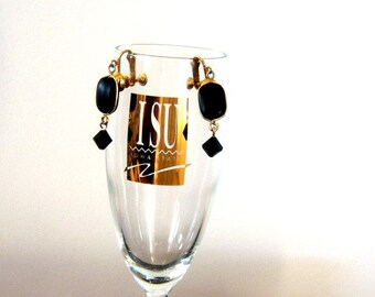On Sale Vintage Black Gold Dangle Earrings Screwback Home Decor New Orleans Vintage Shop Holiday Retro
