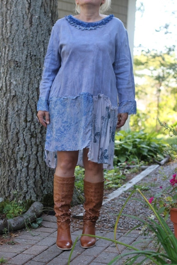 Red tag- Eco-Friendly/ Upcycled / Love Rise / Dress / Hand-dyed / XLarge / One of a kind by Europeninboston