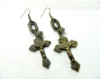 Cross Earrings Vintage  Repurposed  Religious Jewelry Jeweled Art Deco One of A Kind