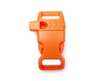 "CURVED Whistle Buckles 1/2"" (13mm), Orange, Side-Release, Non-Adjusting"