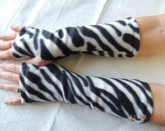 Zebra Print Fleece Fingerless Glove, Fleece Arm Warmer, Fleece Cycling Glove, Texting Glove, Fleece Driving Glove, Fleece Hand Warmer, Mitts