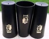 Vintage Owl Tumblers - Black Plastic Glasses with Metallic Owls - Set of 3