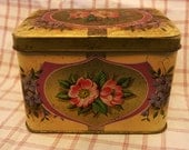 Tin floral box made in England