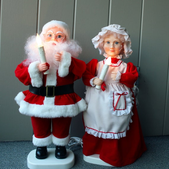 Santa and mrs claus animated figurine christmas decorations