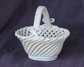 White Small Vintage Ceramic Oval Basket Vase