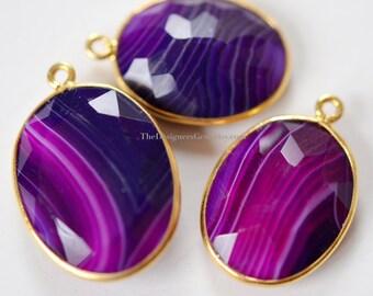 Purple Agate Oval Vermeil Gold Pendant - BIG NECKLACE CHARM