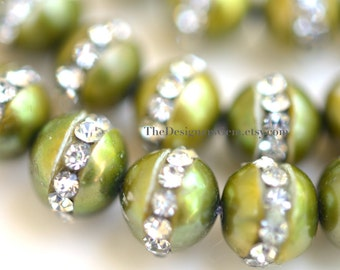 Lime Olive Green Semi Round Freshwater Pearls with Inlaid Crystal Rhinestones 7mm - 1/2 STRAND